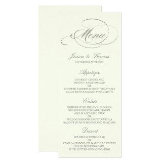 Cartão Marfim chique do molde do menu do casamento da