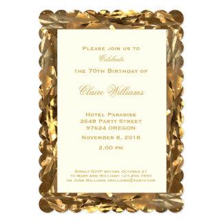 Cartão marfim do ouro do aniversário do aniversário do 70
