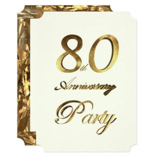 Cartão marfim do ouro do aniversário do aniversário do 80