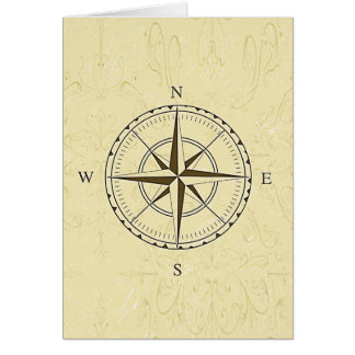 Cartão Marfim náutico do rosa de compasso do vintage