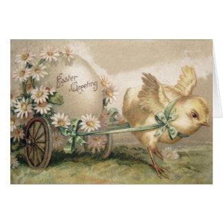 Cartão Margarida da carruagem do ovo do pintinho da