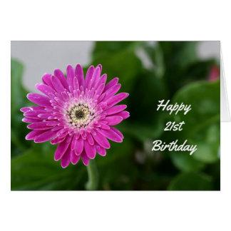 Cartão Margarida feliz do roxo do aniversário de 21 anos