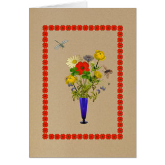 Cartão Margaridas, papoilas, cornflowers, buquê dos