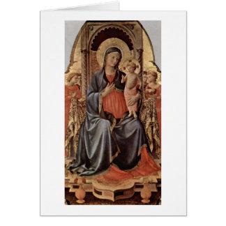 Cartão Maria com a criança e os anjos por Fra Angelico