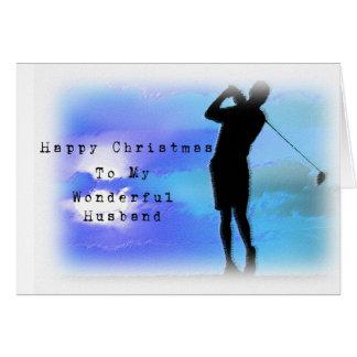 Cartão Marido do golfe no Natal