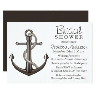 Cartão Marinheiro náutico do casamento de Brown da âncora