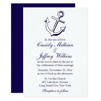 Cartão Marinheiro náutico do casamento dos azuis marinhos