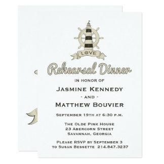 Cartão Marinheiro náutico do farol de Tan do jantar de