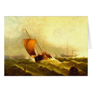 Cartão Marinheiros em uma tempestade