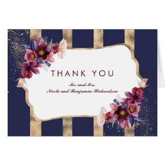 Cartão Marinho Borgonha e obrigado floral das listras do