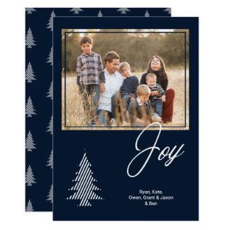 Cartão Marinho clássico da alegria e foto branca da