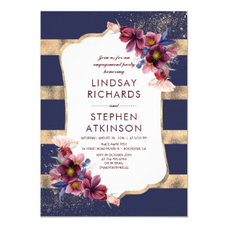 Cartão Marinho de Borgonha e festa de noivado floral do