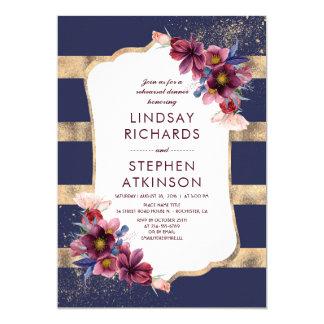 Cartão Marinho de Borgonha e jantar de ensaio floral do