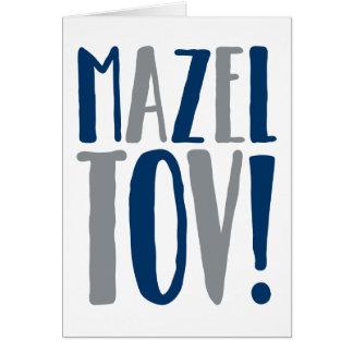 Cartão Marinho do bloco de Mazel Tov + Cinzento