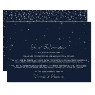 Cartão Marinho elegante & estrelas de queda de prata que