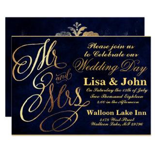 Cartão Marinho & ouro elegantes