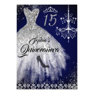 Cartão Marinho Quinceanera do vestido do diamante da