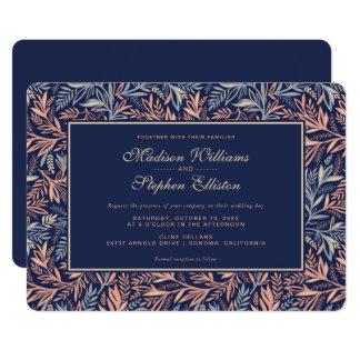 Cartão Marinho & rosa florais & teste padrão da planta -
