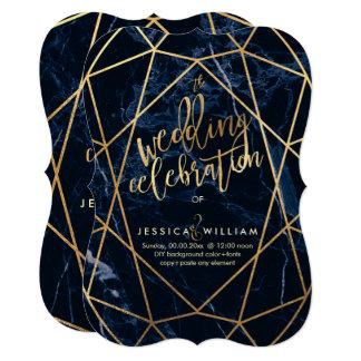 Cartão Mármore azul da meia-noite+Casamento do ouro do