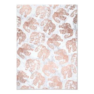 Cartão Mármore cor-de-rosa do branco dos elefantes de