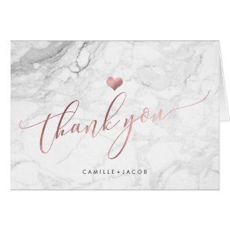 Cartão Mármore de PixDezines+Obrigado cor-de-rosa do