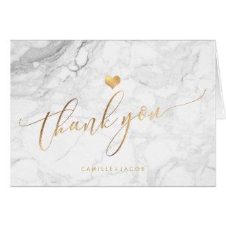 Cartão Mármore de PixDezines+Ouro/WeddingThank do falso