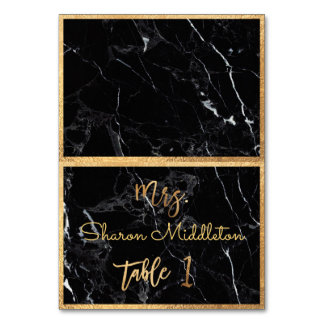 Cartão Mármore do preto do ouro do falso de