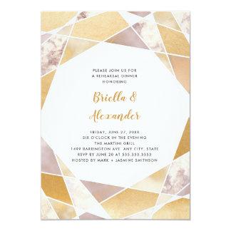 Cartão Mármore geométrico do ouro do falso do jantar de