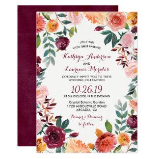 Cartão Marsala cora casamento botânico cor-de-rosa da