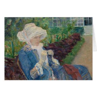 Cartão Mary Cassat- Lydia que Crocheting no jardim