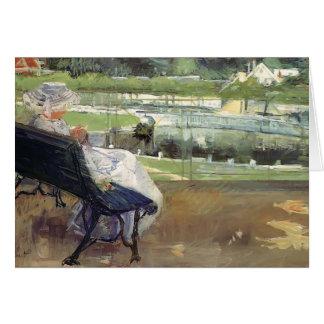 Cartão Mary Cassatt- Lydia que senta-se em um patamar,