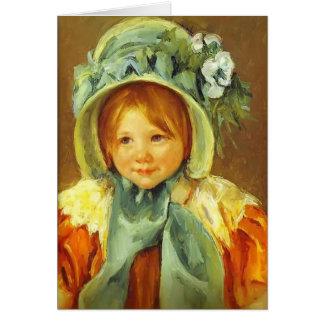 Cartão Mary Cassatt- Sarah em uma capota verde