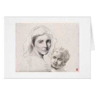 Cartão Mary e criança santamente do cristo