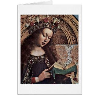 Cartão Mary Enthroned o detalhe por Hubert Van Eyck