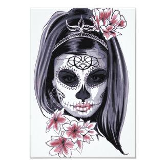 Cartão Máscara do esqueleto da mulher