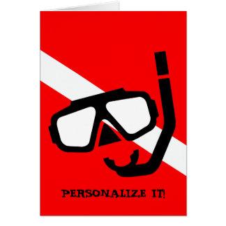 Cartão Máscara do mergulho com bandeira