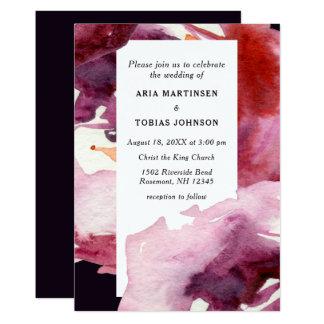 Cartão Máscaras do casamento roxo da aguarela