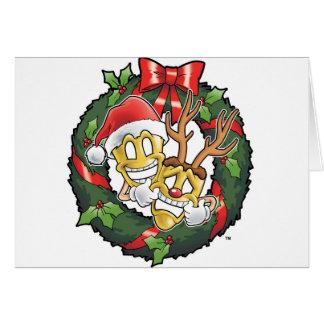 Cartão Máscaras engraçadas do Natal da comédia & da