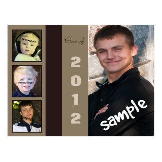 Cartão masculino do anúncio da graduação de quatro cartão postal