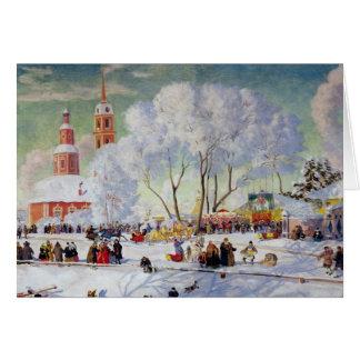 Cartão Maslanitsa - feriado de inverno da semana da