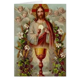 Cartão Massa católica tradicional que oferece o coração