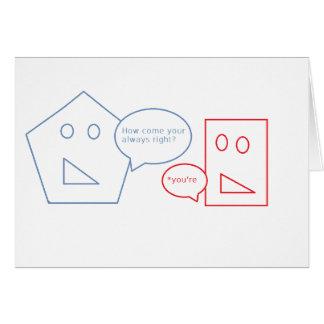 Cartão Matemática e chalaça inglesa