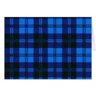 Cartão Material azul de lãs do Tartan