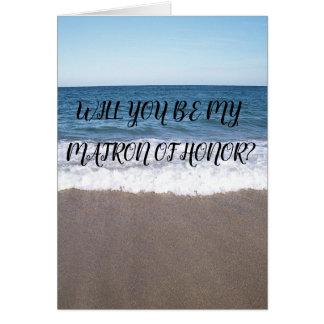 Cartão Matrona da honra para a praia no casamento do
