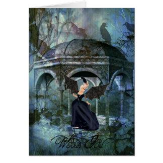 Cartão mau do Dia das Bruxas da menina