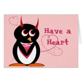 Cartão mau do dia dos namorados do pinguim