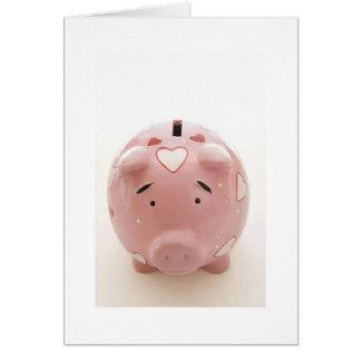 Cartão Mealheiro cor-de-rosa