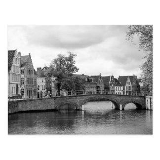 Cartão medieval da ponte de Bruges