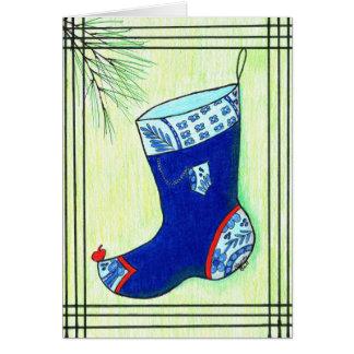 Cartão Meia azul do Natal de Hanbok