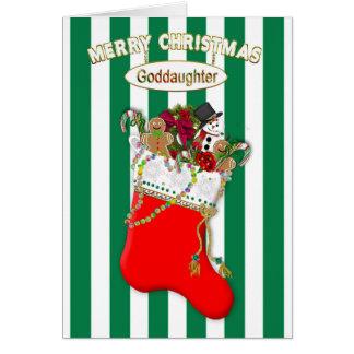 Cartão Meia do Natal da criança - Goddaughter - doces